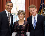 Presidentof the United States of America, Barack Obama, Ambassador of Switzerland to the United States, Manuel Sager, and Christine Sager